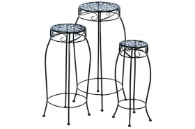 Martini Accents Round Plant Stands - Black Patent