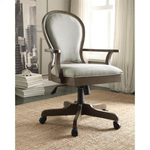 RiversideBelmeade - Scroll Back Upholstered Desk Chair - Old World Oak Finish