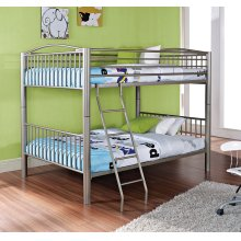 """Heavy Metal """"Pewter"""" Full Over Full Bunk Bed"""