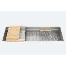 "SmartStation® 005405 - undermount stainless steel Kitchen sink , 60"" × 18 1/8"" × 10"" (Maple)"