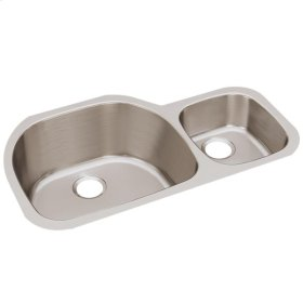 "Elkay Lustertone Classic Stainless Steel 36-1/4"" x 21-1/8"" x 10"", Offset 60/40 Double Bowl Undermount Sink"