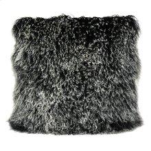 Lamb Fur Pillow Large Black Snow