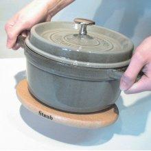 "Staub Cast Iron 11.4"" Oval Magnetic Wood Trivet"