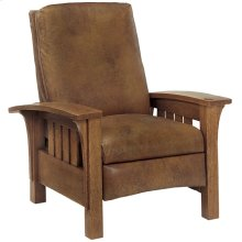 Recliner Straight Back Leather, Oak Bow Arm Morris Recliner