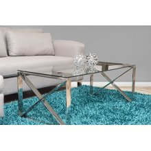 Tempered Glass Coffee Table With Chrome Base