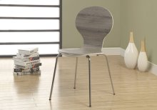 "DINING CHAIR - 4PCS / 34""H / DARK TAUPE WITH CHROME METAL"