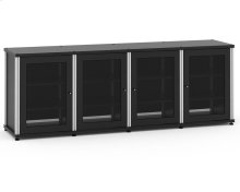 Synergy Solution 347, Quad-Width AV Cabinet, Black with Aluminum Posts