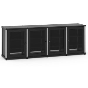 Salamander DesignsSynergy Solution 347, Quad-Width AV Cabinet, Black with Aluminum Posts