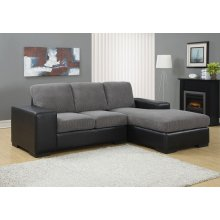 SOFA LOUNGER - GREY CORDUROY WITH BLACK LEATHER-LOOK