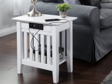 Mission Chair Side Table with Charger White