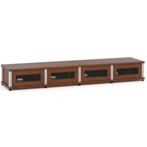 Salamander DesignsSynergy Solution 147, Quad-Width AV Cabinet, Cherry with Aluminum Posts