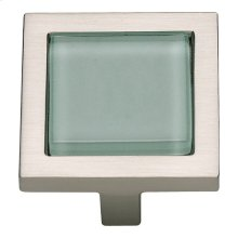 Spa Green Square Knob 1 3/8 Inch - Brushed Nickel