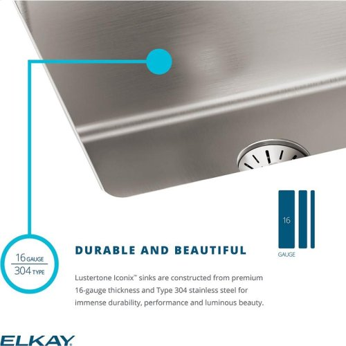 "Elkay Lustertone Iconix Stainless Steel 16"" x 18-1/2"" x 8"", Single Bowl Undermount Sink with Perfect Drain"
