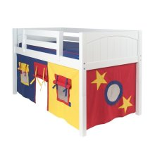 Under Bed Curtain : Blue/Red/Hot Yellow