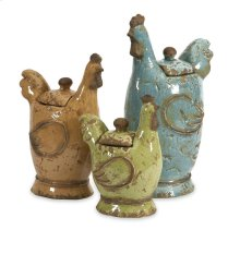 Cherda Lidded Roosters - Set of 3