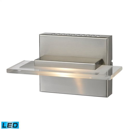 Linton 1-Light Vanity Sconce in Satin Nickel with Clear Glass - Integrated LED