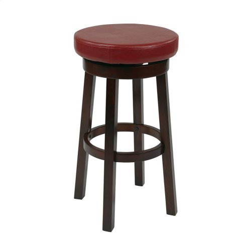 "Metro 30"" Metro Round Barstool In Crimson Red Faux Leather"