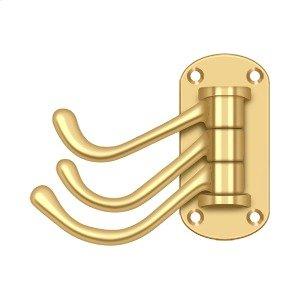 """Triple Swivel Hook, Heavy Duty, 4"""" Projection - PVD Polished Brass"""