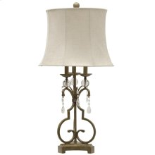 Georgian Silver  Traditional Iron and Acrylic Table Lamp  150W  3-Way  Softback Bell Shade