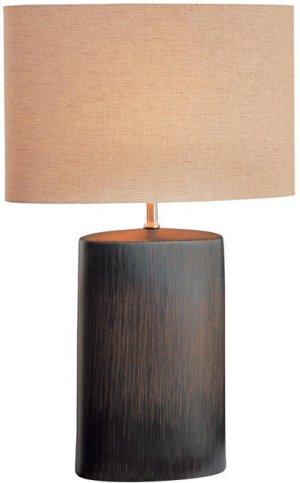 Ceramic Table Lamp, Dark Walnut/linen Fabric Shd,e27 Cfl 23w