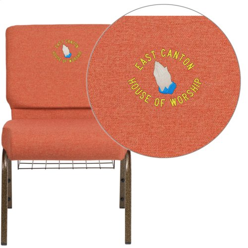 Embroidered HERCULES Series 21'' Wide Cinnamon Fabric Church Chair with 4'' Thick Seat, Book Rack - Gold Vein Frame