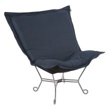 Scroll Puff Chair Linen Slub Indigo Titanium Frame