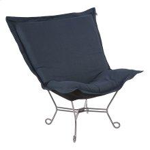 Scroll Puff Chair Linen Slub Indigo Titanium Frame