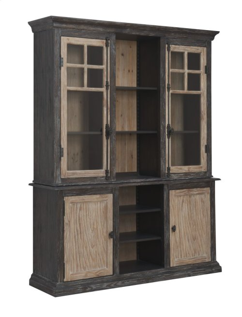 Emerald Home Barcelona Hutch With Light Natural & Brown D551-65