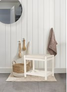 Amelia Wood Non-swivel Vanity Stool - White Product Image