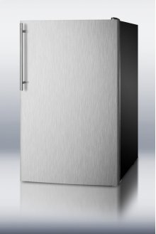 """Commercially Listed ADA Compliant 20"""" Wide Freestanding Refrigerator-freezer With A Stainless Steel Door, Thin Handle and Black Cabinet"""