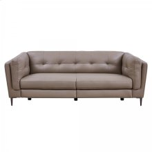 Primrose Greige Contemporary Top Grain Leather Power Recliner Sofa with USB