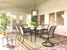 Bass Lake - Beige/Brown 5 Piece Patio Set--Table with 4 Legged Sling Chairs