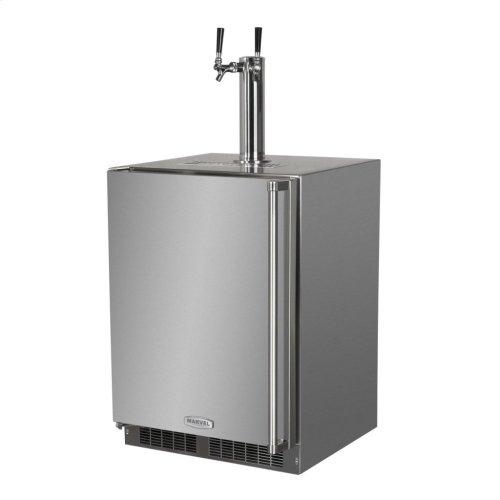 "Outdoor 24"" Twin Tap Built In Beer Dispenser with Stainless Steel Door - Solid Stainless Steel Door With Lock - Right Hinge"