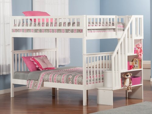 Woodland Staircase Bunk Bed Full over Full in White