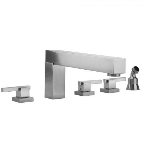 Satin Nickel - CUBIX® Roman Tub Set with CUBIX® Lever Handles and Angled Handshower Holder