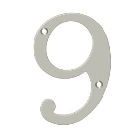 "6"" Numbers, Solid Brass - Brushed Nickel"