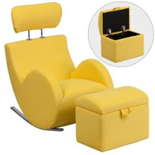 Yellow Fabric Rocking Chair with Storage Ottoman