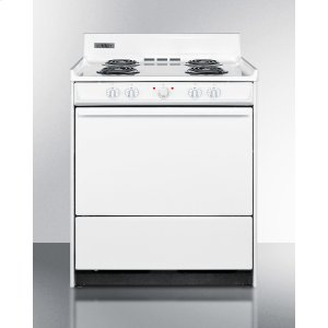 """SummitWhite 220v Electric Range In 30"""" Width With Storage Compartment"""