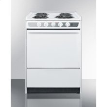 """24"""" Wide Slide-in Electric Range In White With Lower Storage Compartment"""