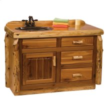 Vanity Base - 48-inch - Natural Cedar - Sink Center