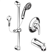 Commercial Shower System with Slide-Grab Bar & Diverter Tub Spout, 1.5 gpm - Polished Chrome