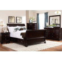 CAL KING SLEIGH PLATFORM BED W/RAIL STORAGES