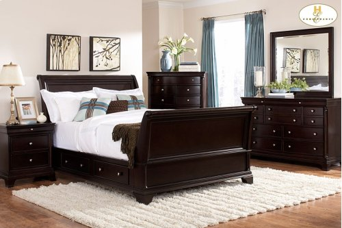 Eastern King Sleigh Platform Bed With Rail Storage