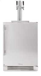 24 Inch Dual Tap Stainless Solid Door Beverage Dispenser - Left Hinge Stainless Solid Product Image