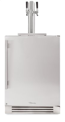 24 Inch Dual Tap Stainless Solid Door Beverage Dispenser - Left Hinge Stainless Solid