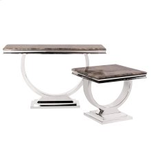 Stainless Steel Console Table with Stone Top with Faux Marble Finish