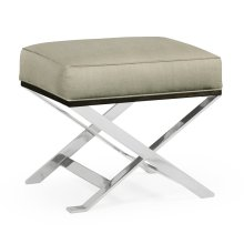 Contemporary White Stainless Steel Stool, Upholstered in MAZO