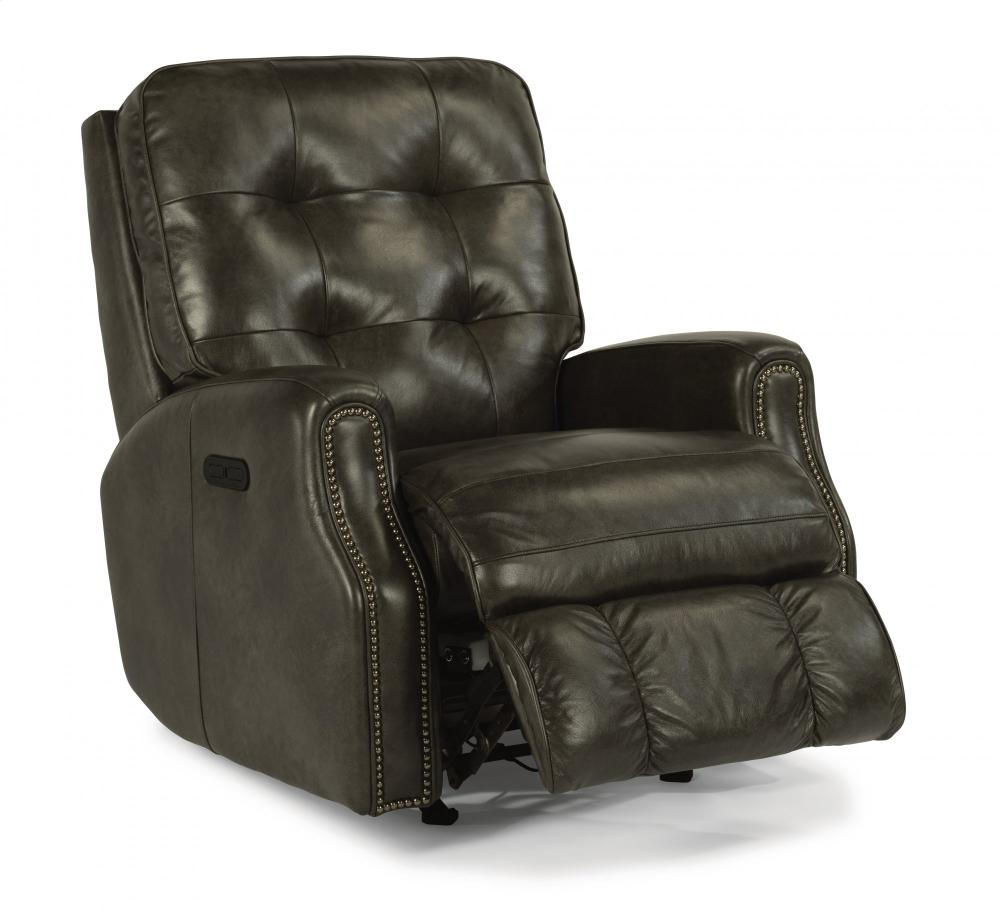 388151H In By Flexsteel In Plymouth, WI   Devon Leather Power Rocking  Recliner With Power Headrest And Nailhead Trim