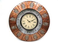 "Round Metal Clock-Embossed Rust and Silver-30""""D Product Image"