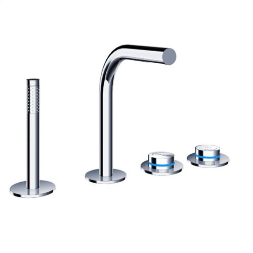 pure2 electronica four-hole deck-mounted thermostatic tubfiller with handshower & flexible hose